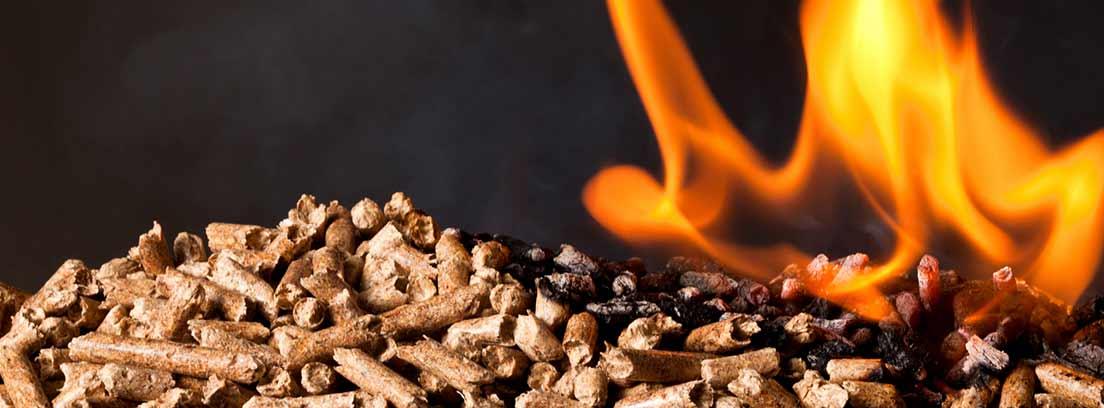Pellets con una llama de fuego