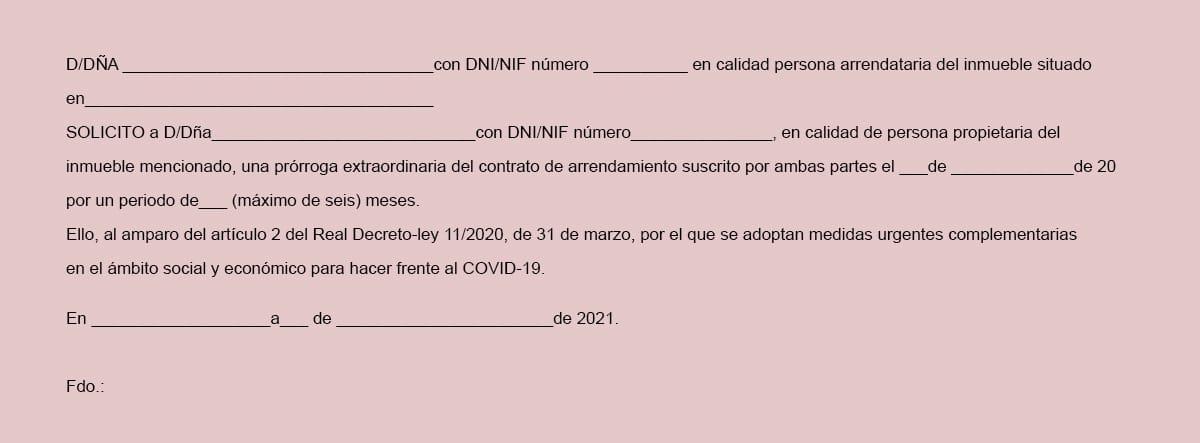 Modelo de solicitud de prórroga del contrato de alquiler