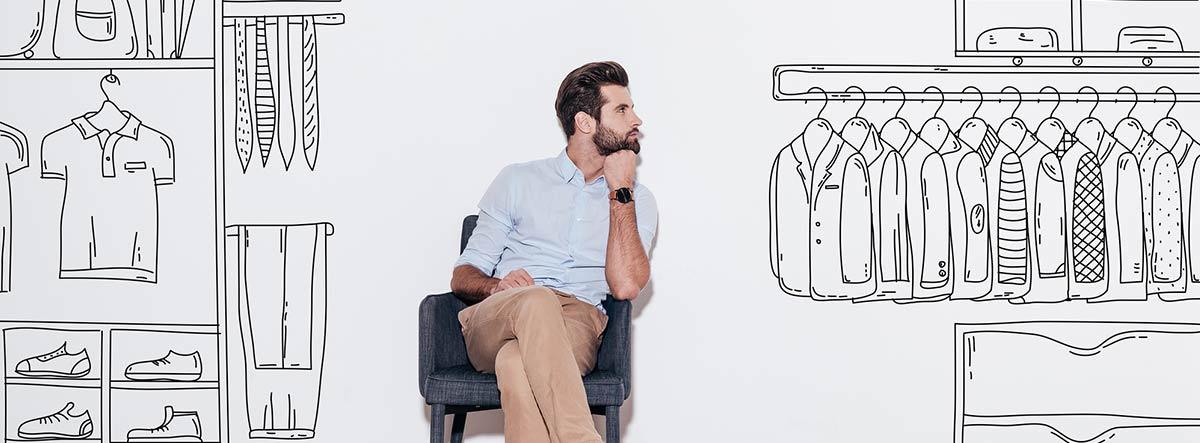 Hombre delante de un dibujo del interior de un armario