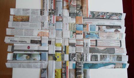 Hacer cesta con papel de peri dico canalhogar - Cesta de papel de periodico ...