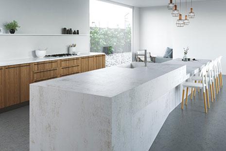 Isla de cocina de piedra compacta blanca