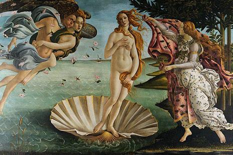 Cuadro El nacimiento de Venus, de Boticcelli, en la Galería Uffizi de Florencia
