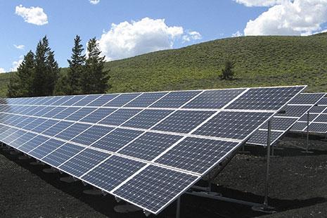 Estructura de paneles solares sobre tierra y junto a unos árboles