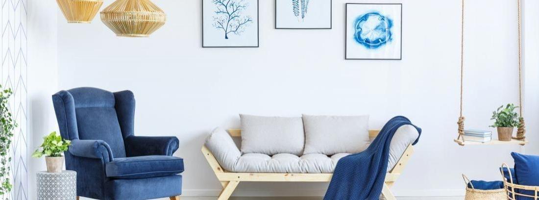 Cuarto de estilo nórdico en tonos azules