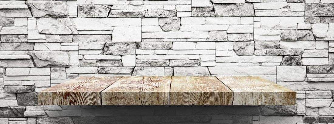 Hacer estantería en pared de piedra artificial