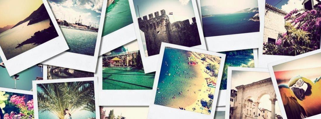 Mural con fotos de viajes