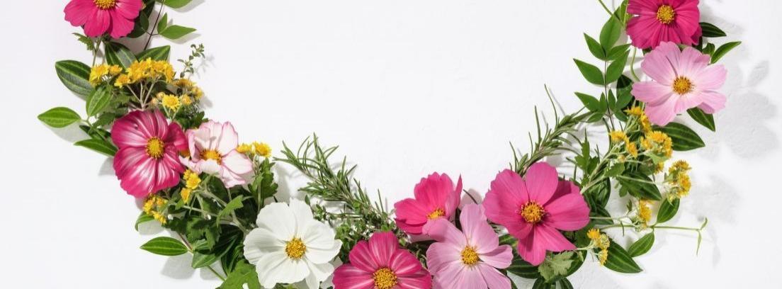Manos sujetando una guirnalda de flores y plantas naturales