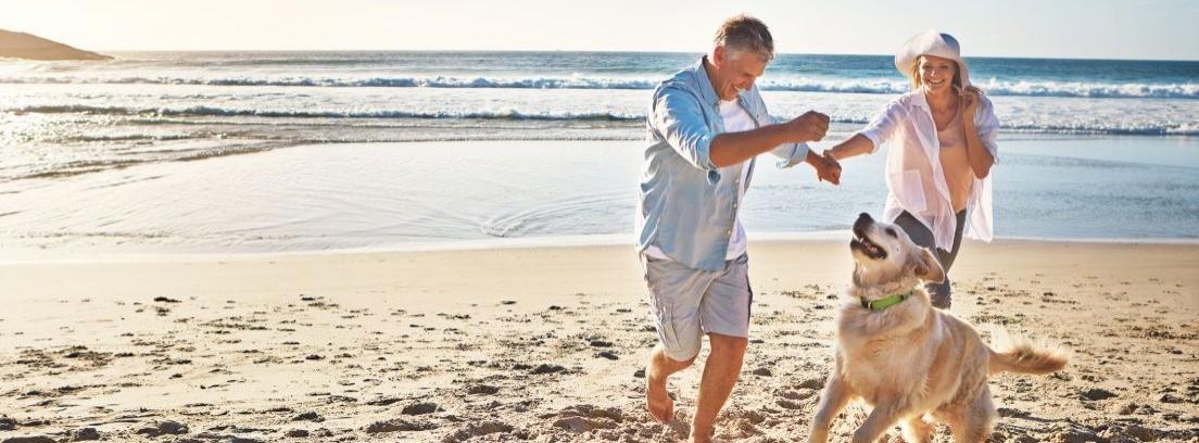 pareja con perro en la playa