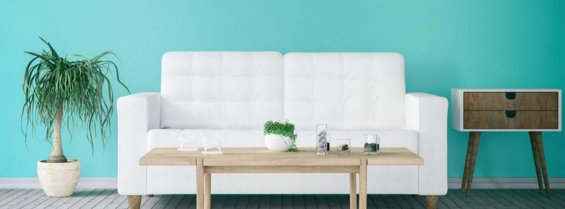 Pared bicolor blanco y azul con una escalera y un cubo de pintura