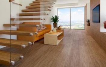 Salón de una casa con suelo de madera con chimenea y estanterías de fondo