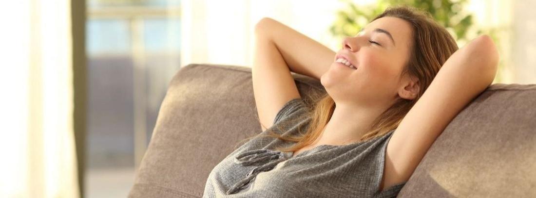 Salón con un sofá de estilo nórdico