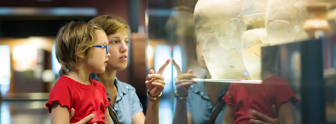 Niña con gafas y camiseta roja contempla una vitrina de cristal junto a un adulto.