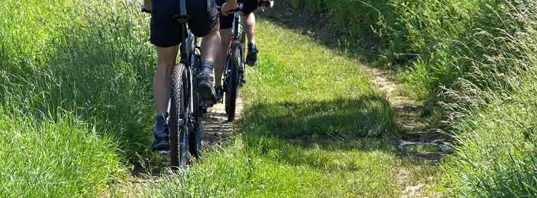 Dos personas en bici con mochilas y cascos entre hierva y matorrales verdes.