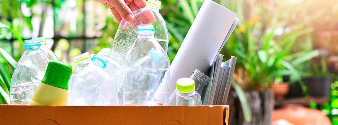 Mano cogiendo una botella de plástico en una caja de cartón llena de más botellas