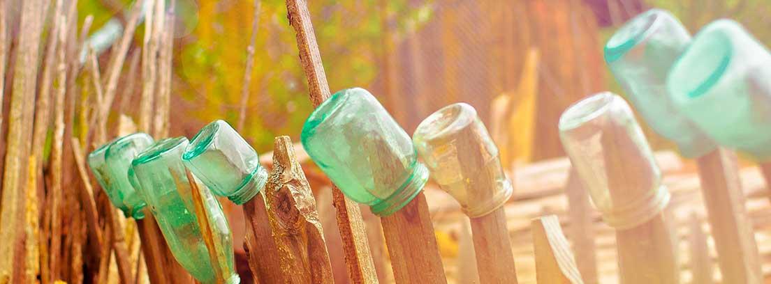 Botes de cristal colocados al revés en varios palos de madera