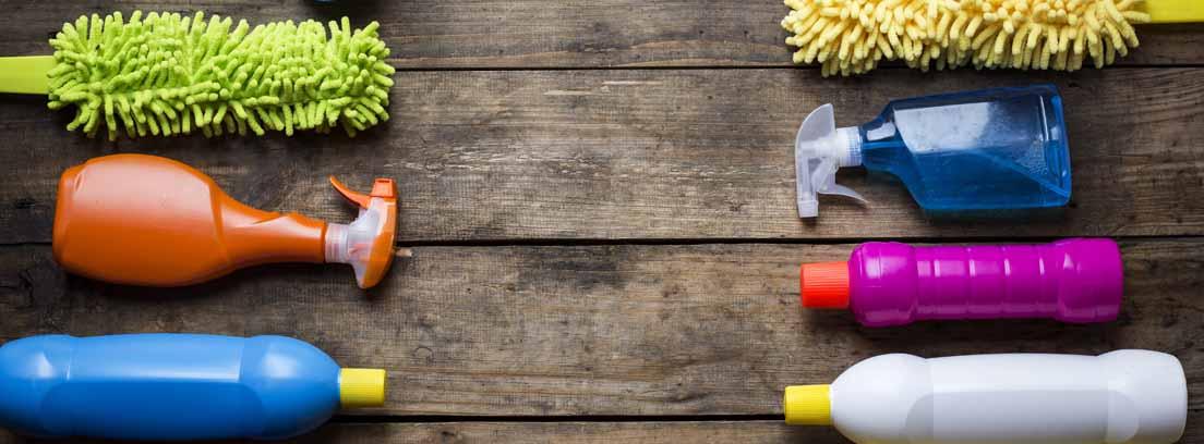 Distintos productos de limpieza tumbados en dos filas sobre un suelo de madera