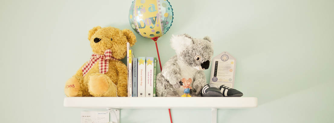Estante de pared con libros, peluches y globo