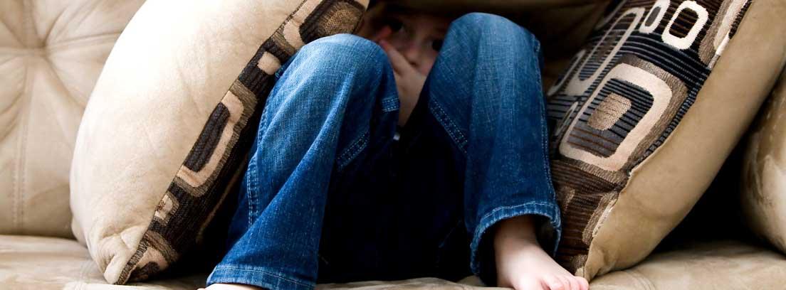 Niño sentado en un sofá de ante escondido debajo de unos cojines