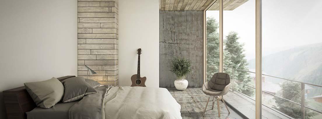 Dormitorio con amplio ventanal en colores claros