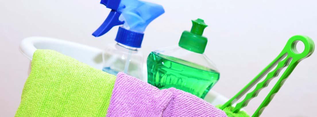 Productos de limpieza y trapos dentro de un cubo
