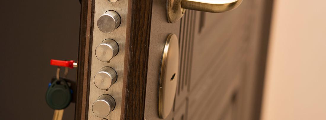 Vista de la cerradura de una puerta blindada