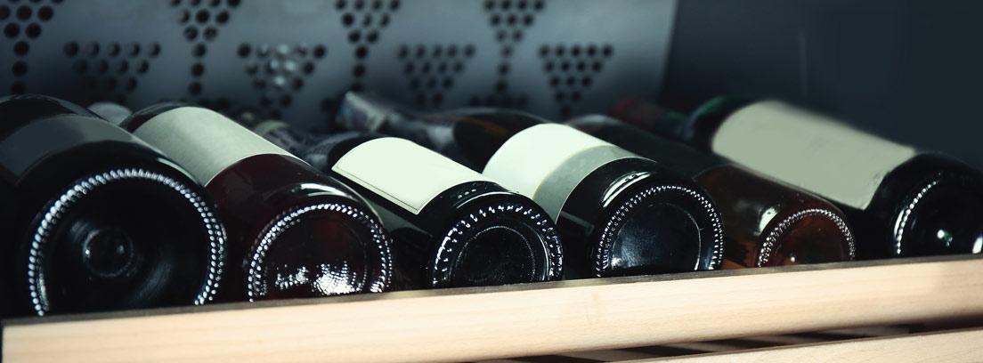 Botellas de vino en una vinoteca