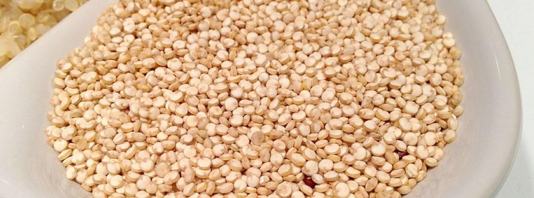 Recipiente blanco con semillas de quinoa