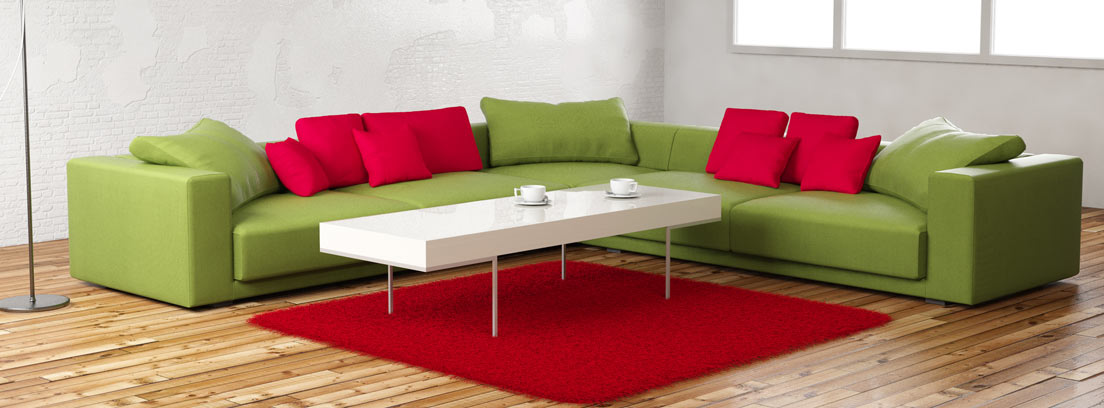 Sofá verde de tipo modular
