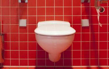 Tipo de inodoro suspendido y con cisterna empotrada sobre azulejos rojos