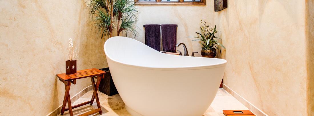 Bañera ovalada en el centro de una baño