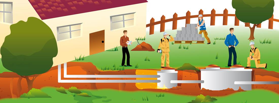 Ilustración de una casa con una instalación que aprovecha la geotermia como fuente de energía renovable