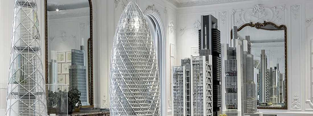 Sala con reproducciones de las principales obras de Norman Foster en su Fundación.