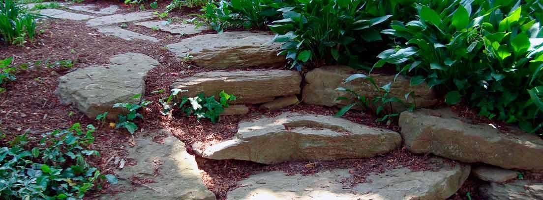 Escalones de piedra en un jardín