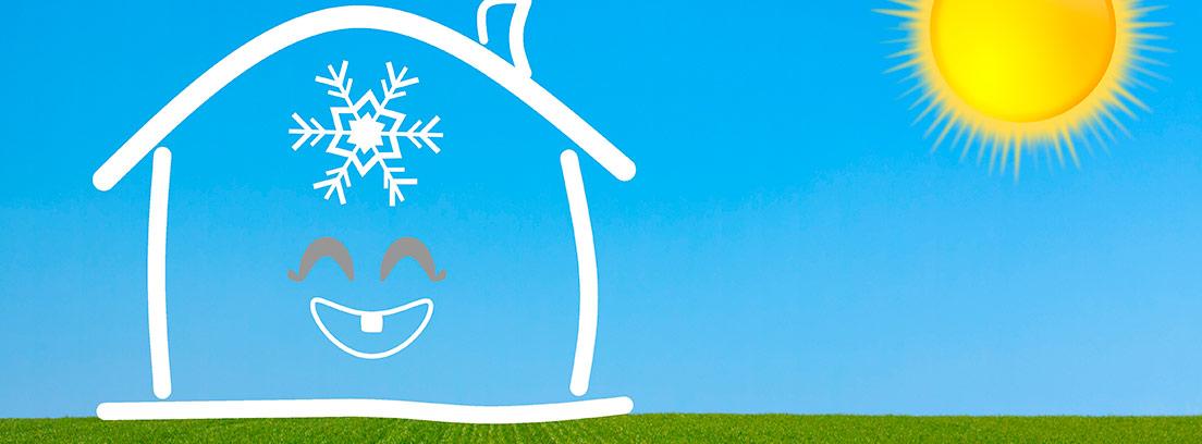Dibujo de una casa con el símbolo del frío