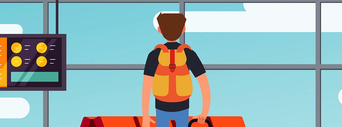 Ilustración de chico en aeropuerto con maletas