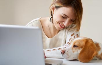 Perro mirando el ordenador de una chica