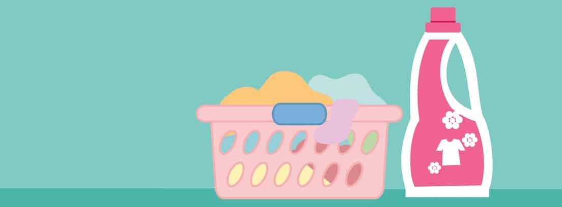Ilustración de un cesto de ropa y un bote de detergente
