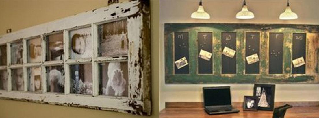 Ventana antigua colgada en pared con fotos dentro