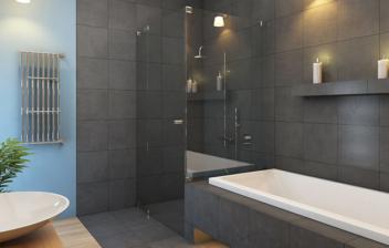Lavabo con forma de plato en un baño moderno