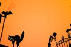 Ilustración con siluetas de motivos de Halloween
