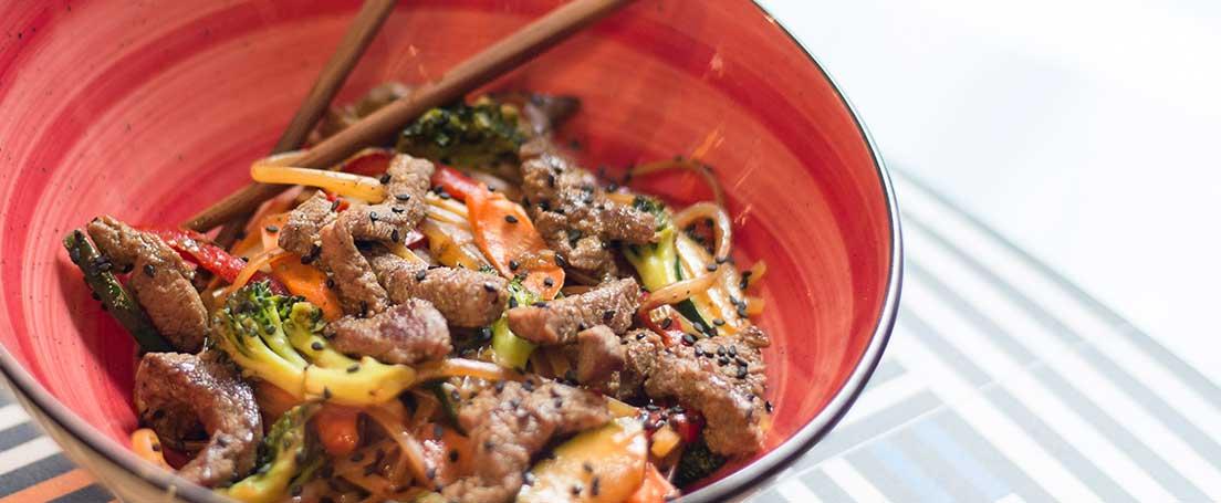 Ternera agridulce con verduras