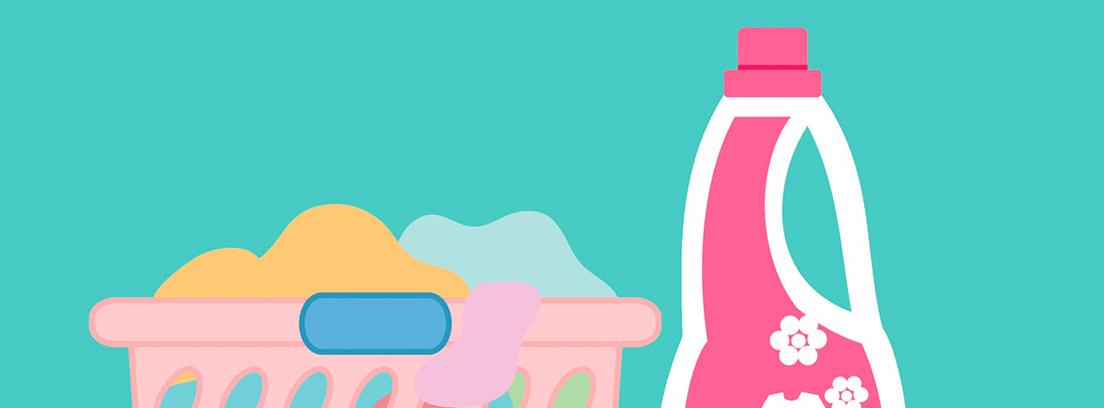 Ilustración de un cesto con ropa y un bote de detergente