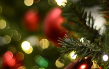 Vista parcial de un árbol de navidad con adornos y luces