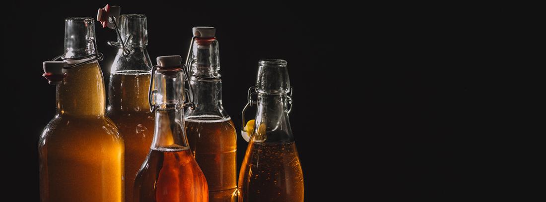 Botellas de cristal con kombucha.