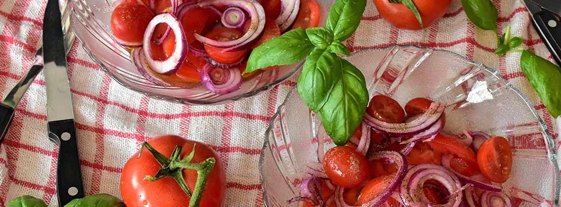 Vista cenital de tomates enteros y boles de tomates con cebolla sobre un mantel de cuadros