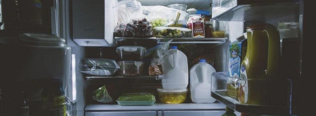 Nevera abierta con mucha comida y alimentos dentro