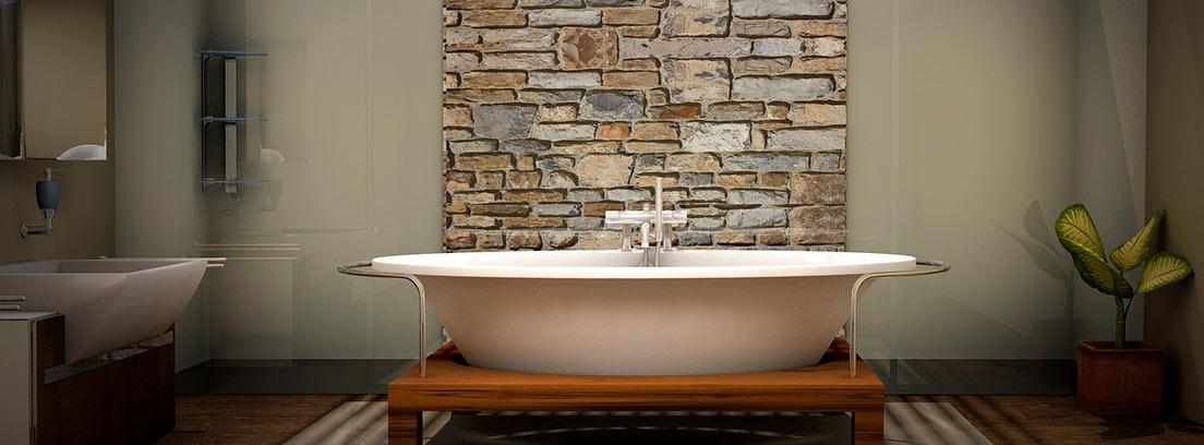 Baño moderno con papel pintado de piedras