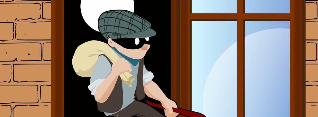 Ilustración de un ladrón que acaba de robar saliendo de una casa