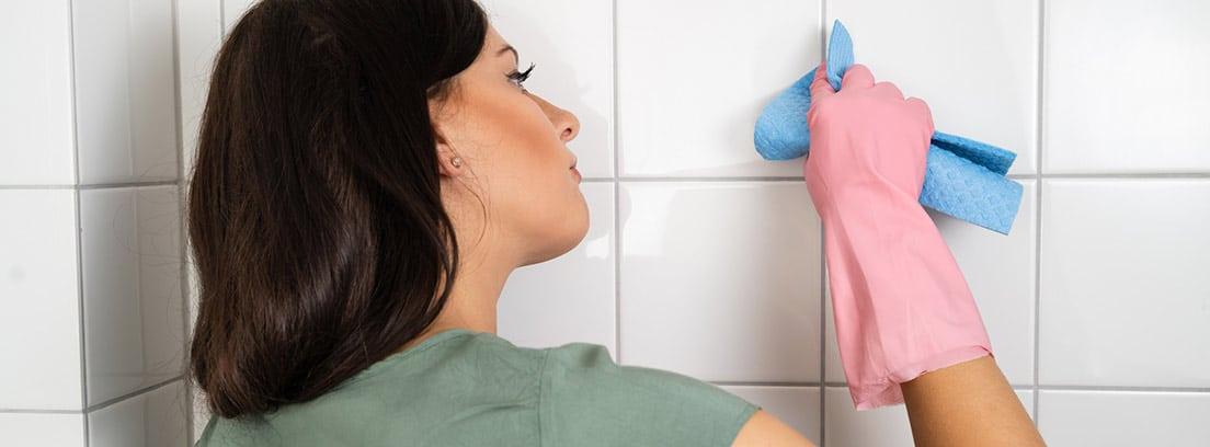 Mujer con una bayeta limpiando las juntas de los azulejos