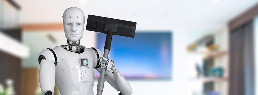 Robot con una aspiradora